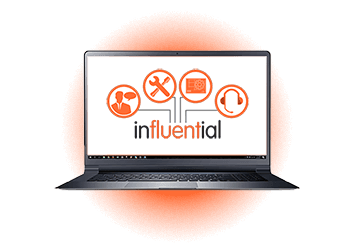 Laptop with logos for Addigy Partner Influential Software