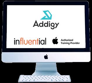 Monitor with Addigy training logos