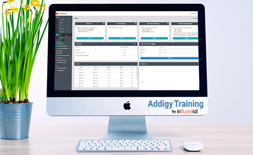 Online Addigy training represented by Addigy dashboard on Apple Mac