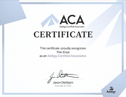 Addigy Certified Associate (ACA) Certificate (example)